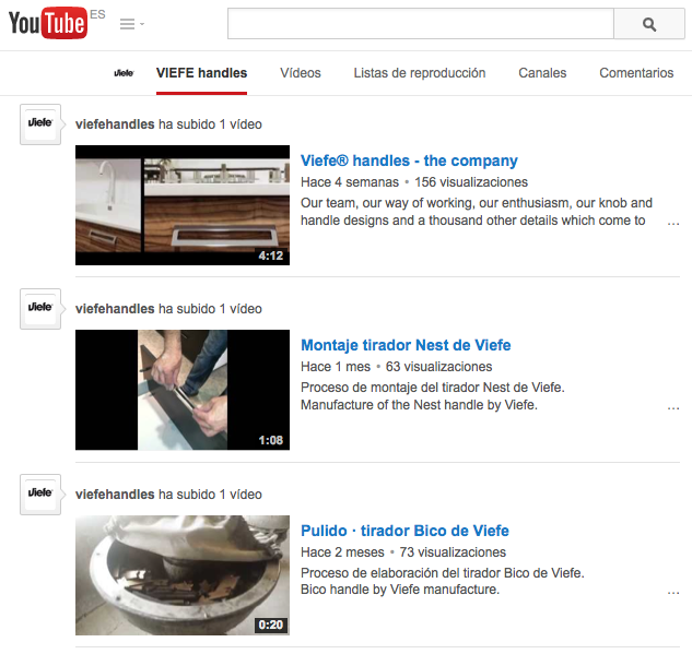 Viefe knobs and handles on Youtube