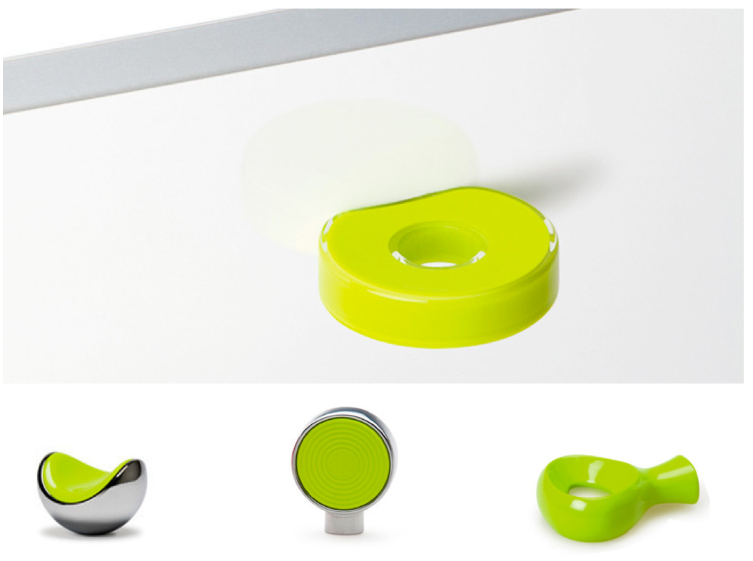 Pomos y tiradores verde lima. Knobs and handles lime colour. By Viefe.