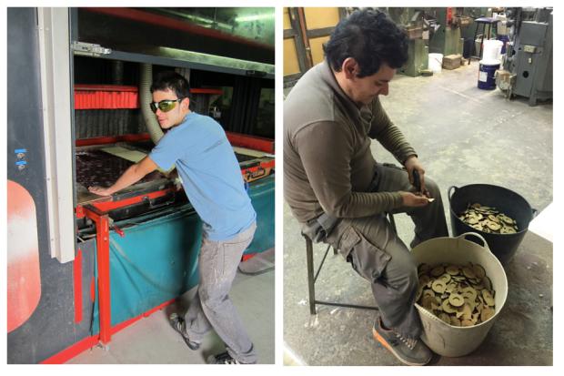 Viefe, knobs and handles company, production team. Equipo de producción de la empresa de pomos y tiradores Viefe.