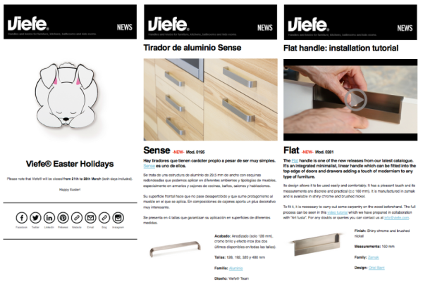 Newseltter de Viefe sobre pomos, tiradores y decoración. Newsletter of Viefe about knobs, handles and decoration.