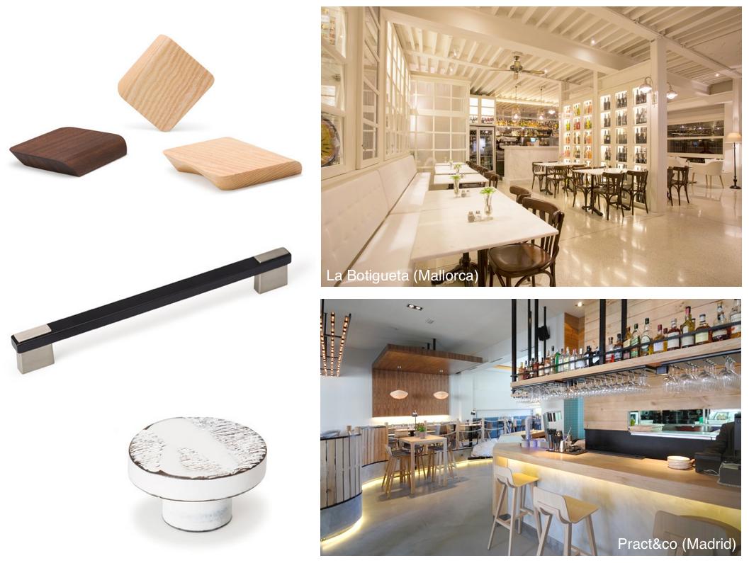 Pomos y tiradores para restaurantes de diseño. Knobs and handles for design restaurants.